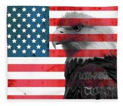 Bald Eagle American Flag Fleece Blanket