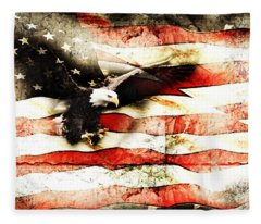 Bald Eagle Bursting Thru Flag Fleece Blanket