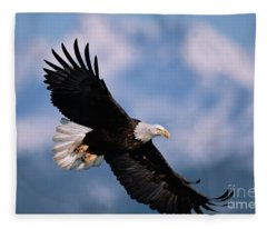 Bald Eagle Flying Kachemak Bay Fleece Blanket