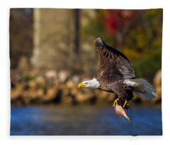 Bald Eagle In Flight Over Water Carrying A Fish Fleece Blanket