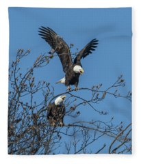 Bald Eagles Screaming Drb169 Fleece Blanket