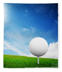 Ball On Tee On Green Golf Field Fleece Blanket