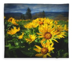 Balsamroot Of The Gorge Fleece Blanket