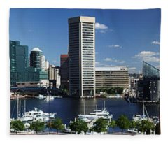 Baltimore Inner Harbor Panorama Fleece Blanket
