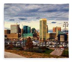 Baltimore Inner Harbor Skyline Panorama Fleece Blanket