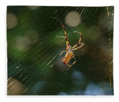 Banana Spider In Web Fleece Blanket