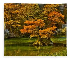 Bandera Falls On Medina River Fleece Blanket