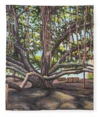 Banyan Tree Lahaina Maui Fleece Blanket