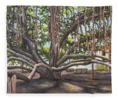 Fleece Blanket featuring the painting Banyan Tree Lahaina Maui by Darice Machel McGuire