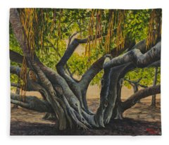 Fleece Blanket featuring the painting Banyan Tree Maui by Darice Machel McGuire