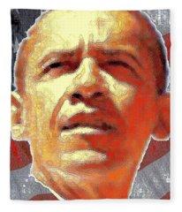 Barack Obama Portrait - American President 2008-2016 Fleece Blanket