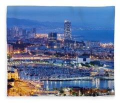 Barcelona Cityscape By Night Fleece Blanket