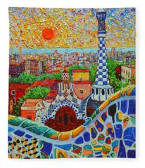 Barcelona Sunrise - Guell Park - Gaudi Tower Fleece Blanket