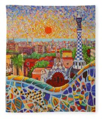 Barcelona Sunrise Light - View From Park Guell Of Gaudi - Square Format Fleece Blanket
