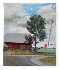 Barn By Lockport Rd Fleece Blanket