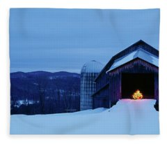 Barn In A Snow Covered Field, Vermont Fleece Blanket