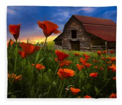 Barn In Poppies Fleece Blanket