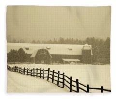 Barn Lake Placid N Y Fleece Blanket