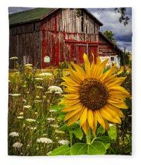 Barn Meadow Flowers Fleece Blanket