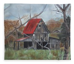 Barn - Red Roof - Autumn Fleece Blanket