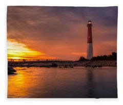 Barnegat Sunset Light Fleece Blanket