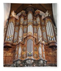Baroque Grand Organ In Oude Kerk In Amsterdam Fleece Blanket