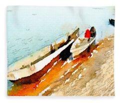 Barques Sur Le Chari Fleece Blanket