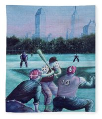 New York Central Park Baseball - Watercolor Art Fleece Blanket