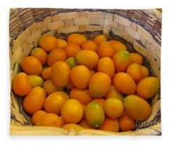Basket Of Kumquat Fruit Art Prints Fleece Blanket