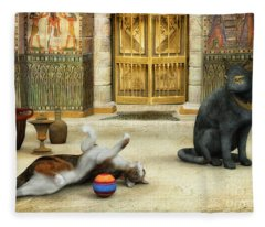 Bastet Meets Molly Fleece Blanket