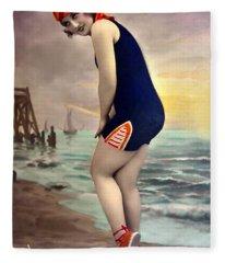 Bathing Beauty In Orange And Navy Bathing Suit Fleece Blanket