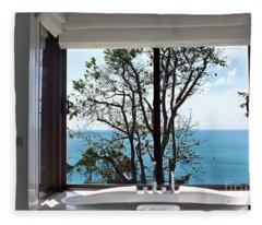 Bathroom With A View Fleece Blanket