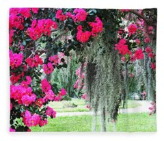 Baton Rouge Louisiana Crepe Myrtle And Moss At Capitol Park Fleece Blanket