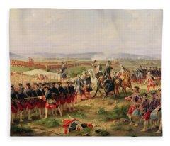 Battle Of Fontenoy, 11 May 1745 The French And Allies Confronting Each Other Fleece Blanket