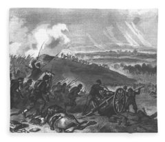 Battle Of Gettysburg - Final Charge Of The Union Forces At Cemetery Hill, 1863 Pub. 1865 Engraving Fleece Blanket