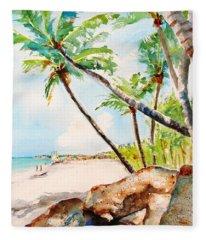 Bavaro Tropical Sandy Beach Fleece Blanket