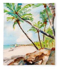 Bavaro Tropical Sandy Beach Fleece Blanket