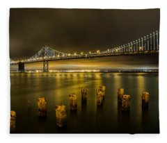 Bay Bridge And Clouds At Night Fleece Blanket