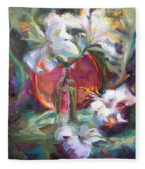 Be Still - Casablanca Lilies With Copper Fleece Blanket