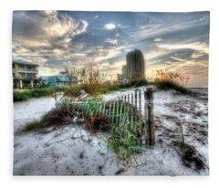 Beach And Buildings Fleece Blanket
