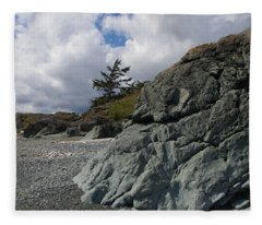 Beach At Fort Rodd Hill Fleece Blanket