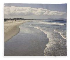 Beach At Santa Monica Fleece Blanket