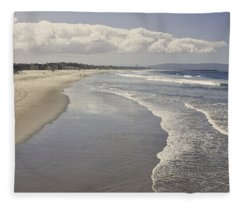 Beach At Santa Monica Fleece Blanket
