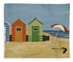 Beach Huts Fleece Blanket