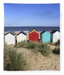 Southwold Beach Huts Uk Fleece Blanket