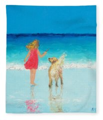 Beach Painting 'sunkissed Hair'  Fleece Blanket
