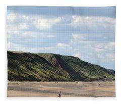 Beach - Saltburn Hills - Uk Fleece Blanket