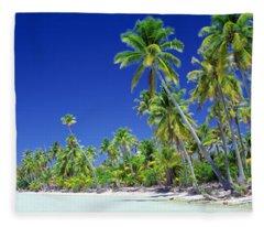 Beach With Palm Trees, Bora Bora, Tahiti Fleece Blanket