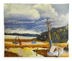 Beached Boat And Fishing Boat At Gippsland Lake Fleece Blanket