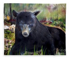 Bear Painting - Blackberry Patch - Wildlife Fleece Blanket